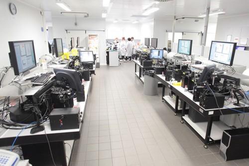 12 machines de sexage fonctionnent 5 jours sur 7, 24h/24. Sur le site de St Aubin du Cormier, le laboratoire Sexing Technologies officie sous contrat pour EVOLUTION.